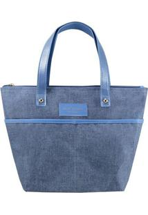 Bolsa Shopper Com Bolsos- Azul & Azul Claro- 23,5X33Jacki Design