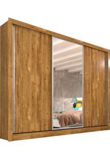 Guarda-Roupa Casal Flex Color Com Espelho Siena 3 Pt Ipe Rustic E Off White