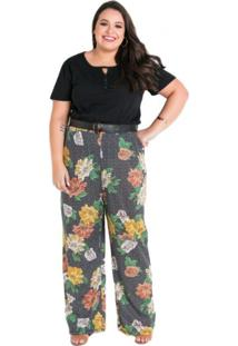 Calça Marguerite Pantalona Plus Size Floral