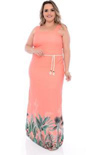 Vestido Plus Size Longo Arimath Plus Coral Estampa Barrado Rosa