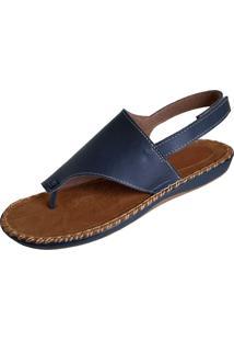 Sandália Scarpe Pespontos Azul Marinho