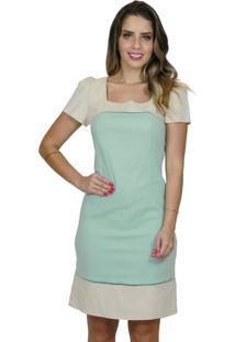 Vestido Mamorena Linho Decote Quadrado Bicolor Verde
