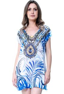 Blusa Estampada 101 Resort Wear Decote V Fendas Étnico Branco