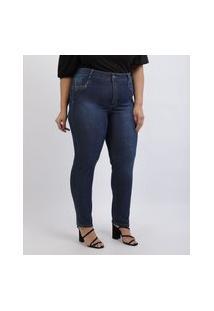 Calça Jeans Feminina Plus Size Sawary Super Skinny Levanta Bumbum Cintura Alta Azul Escuro