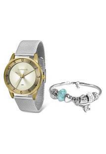 Kit Relógio Feminino Lince Analógico Lrt4598L Kw29C2Sx + Pulseira Dourado
