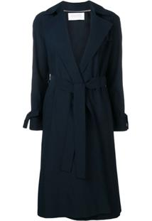 Harris Wharf London Trench Coat Com Cinto - Azul