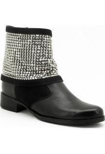 Bota Atron Shoes Feminina Strass - Feminino-Preto