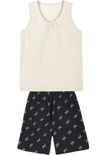 Pijama Feminino Em Malha De Algodão Com Detalhe Franzido