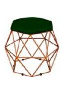 Puff Decorativo Aramado Bronze Six L02 Suede Verde Musgo - Lyam Decor
