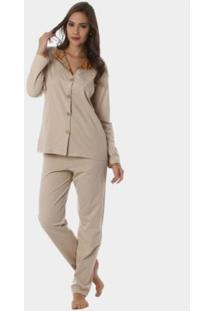 Pijama Longo Em Malha Rmb Lingerie Marrom