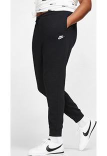 Calça Nike Nsw Sportswear Essential Plus Size Feminina - Feminino-Preto+Branco