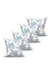 Conjunto De Capas Para Almofada Com 4 Peças Laguna Azul 60X60 Cm