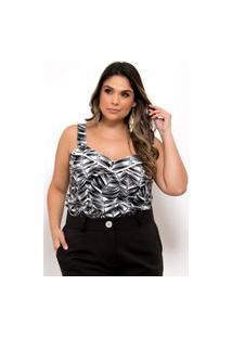 Blusa Estampada Almaria Plus Size Plump Decote Coração Preto