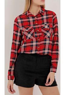 Camisa Xadrez Manga Longa Feminina Vermelho