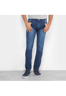 Calça Jeans Slim Preston Estonada Masculina - Masculino-Jeans