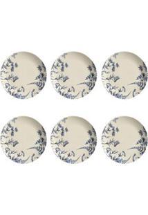 Conjunto De Pratos Rasos Com 06 Peças Em Cerâmica Coup Blue Garden - Porto Brasil