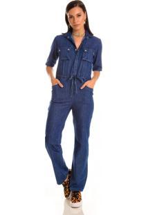 Macacão Jeans Zait Longo Oceano Azul Marinho