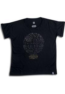 Camiseta Feminina Swarovski Estrela Da Morte Star Wars - Feminino-Preto