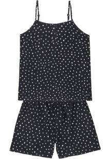 Pijama Em Tecido Estampado De Viscose Com Blusa De Alças Finas