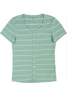 Blusa Listrada Com Botões Verde