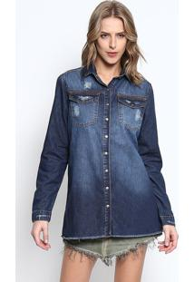 be48d76e5b ... Camisa Jeans Estonada - Azul Escuromy Favorite Things
