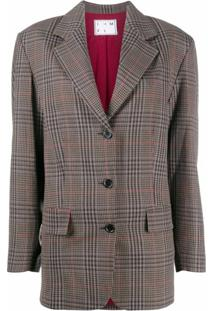 In The Mood For Love Blazer Xadrez Com Abotoamento Simples - Marrom