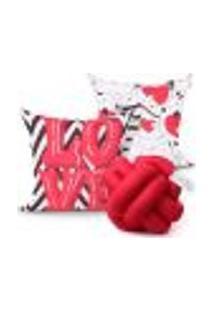 Jogo De Capas De Almofadas Vermelhas Love Estampada 2 Unidades 45Cm X 45Cm + Almofada De Nó Escandinavo