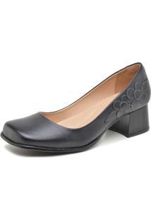 Sapato Retrô Bico Quadrado Dhl Feminino Preto - Kanui