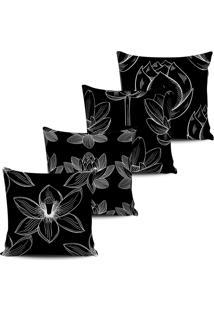Kit 4 Capas Almofadas Floral Nativa Preto Branco 45X45Cm - Tricae