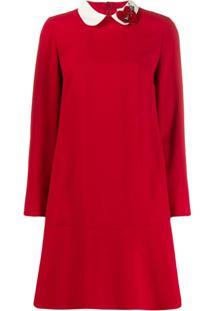 Red Valentino Vestido Polo Com Corações Na Gola - Vermelho