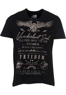 Camiseta Masculina Motorcicle Km - Preto