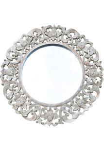 Espelho Redondo C/ Mandala Floral Branca
