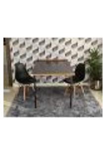 Conjunto De Mesa Dobrável Retrátil 1,40 Preto/Noronha + 2 Cadeiras Eiffel - Preta