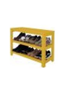 Sapateira Banco | Banqueta De Piso Para Closets E Quartos 8 Pares Sapatos - Amarelo Laca