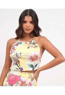 Blusa Frente ÚNica Floral- Amarelo Claro & Off Whitemurau