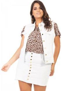 Colete Jeans Com Lycra Plus Size Confidencial Extra Feminino - Feminino-Branco