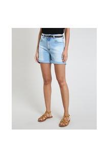 Bermuda Jeans Feminina Cintura Média Barra Dobrada Com Cinto Azul Claro