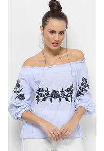 Blusa Ombro A Ombro Facinelli Com Bordado Feminina - Feminino-Azul Claro