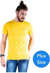 Camiseta Mister Fish Gola Careca Basic Plus Size Masculina - Masculino-Amarelo