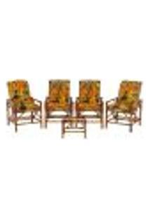 Conjunto Mesa E 4 Cadeiras De Bambu Cancun Para Área Edicula Jardim G15