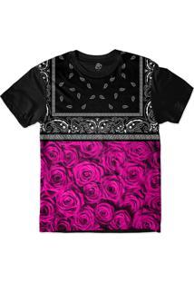 Camiseta Bsc Pink Rose Bandana Sublimada Preto