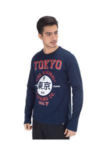 Camiseta Manga Longa Fatal Estampada 18183 - Masculina - Azul Escuro