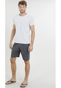 Pijama Masculino Listrado Manga Curta Branco