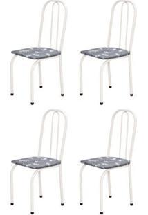 Kit 4 Cadeiras Baixas 0.101 Assento Reto Branco/Cinza Claro Floral - Marcheli