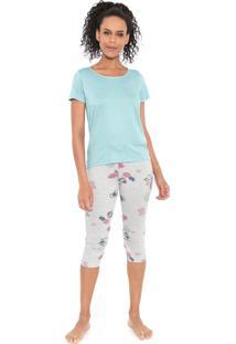 Pijama Malwee Liberta Tropical Azul/Cinza