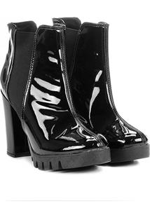 Bota Cano Curto Shoestock Tratorada Verniz Feminina - Feminino-Preto