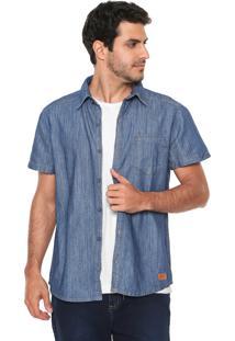 Camisa Jeans Hering Reta Bolso Azul