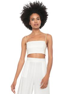 Top Linho Dress To Recortes Off-White/Bege