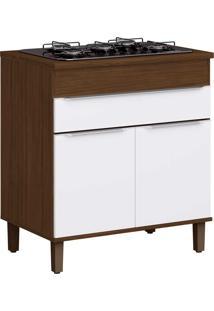 Armário De Cozinha 2 Portas Para Cooktop Com Pés Cs601P Cacau/Branco - Decibal Móveis