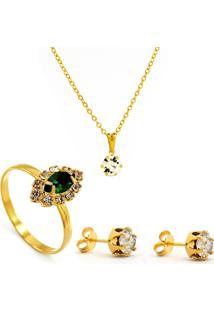 Kit Horus Import Gargantilha Pingente Cristal - Brincos - Anel - Banhado Em Ouro 18K - Kit10536